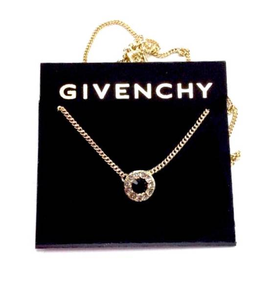 Givenchy Givenchy Black Crystal Pendant Gold Necklace Chain Size ONE SIZE