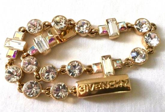 Givenchy Givenchy Gold Tone Crystal Iced Out Tennis Bracelet Diamonds Size ONE SIZE - 1