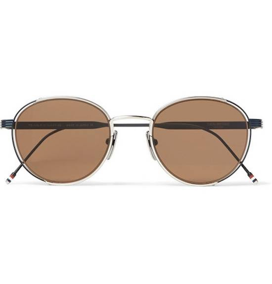Thom Browne NEW Thom Browne TB-106 E Silver - Navy Dark Brown Sunglasses 50-21-145mm round Size ONE SIZE