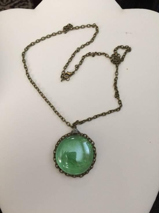 Jw Green glass bronze Chain necklace Size ONE SIZE