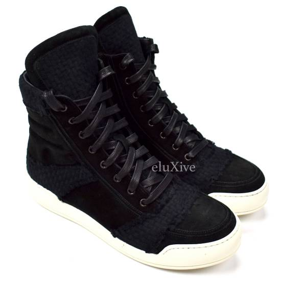 Balmain Black Woven Suede Sneakers DS Size US 8 / EU 41