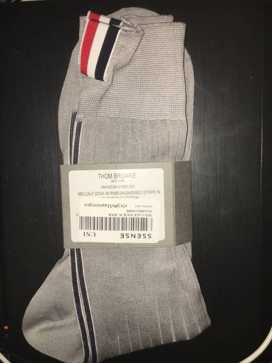 Thom Browne Thom Browne Ribbed Mid Calf Sock Grey Size ONE SIZE - 1