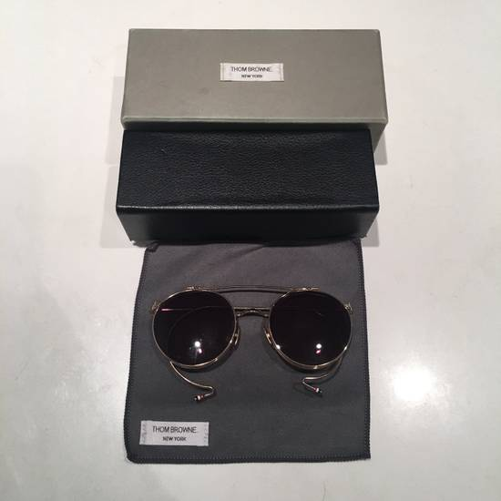 Thom Browne TB Gold Double Lens Round Sunglasses Size ONE SIZE