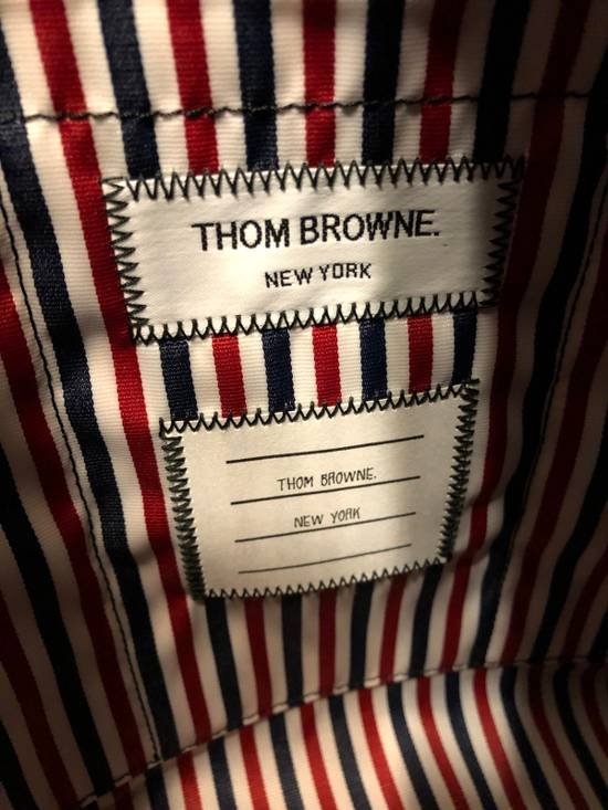 Thom Browne THOM BROWNE Tote In Black Pebble Grain Red, White And Blue Diagonal Strip Size ONE SIZE - 7