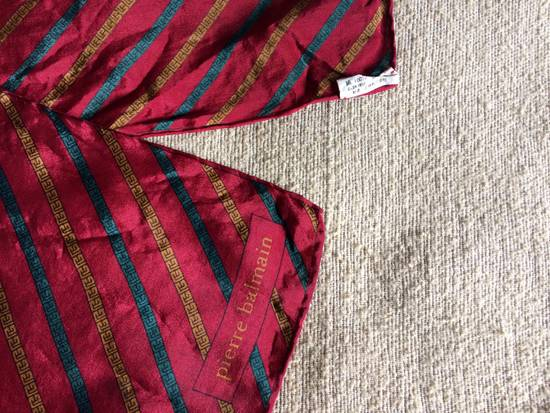 "Balmain Vintage 90s Pierre Balmain Red Green Gold Chain Silk Scarf muffler 11x50"" Size ONE SIZE - 3"