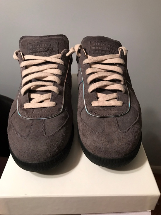 maison margiela grey suede replica sneakers size 12 low top sneakers for sale grailed. Black Bedroom Furniture Sets. Home Design Ideas