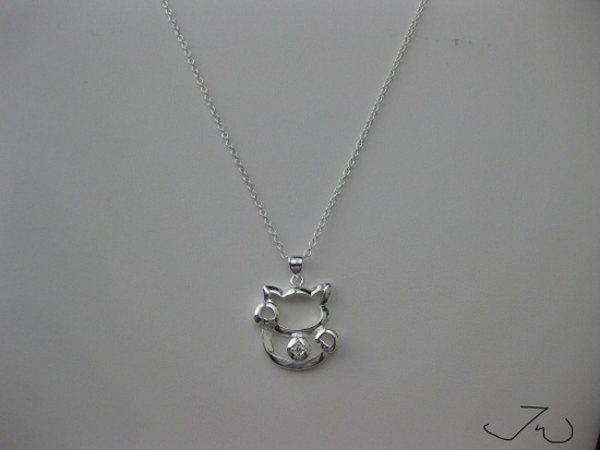Jw Lucky Cat Chain Necklace with cz Size ONE SIZE
