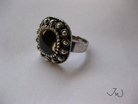 Jw CZ Tibetan Silver Ring - Black Size ONE SIZE - 1