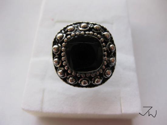 Jw CZ Tibetan Silver Ring - Black Size ONE SIZE