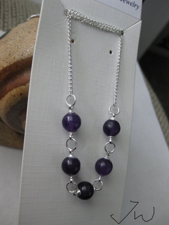 Jw 5 Purple Amethyst Beads Chain Necklace Size ONE SIZE - 3