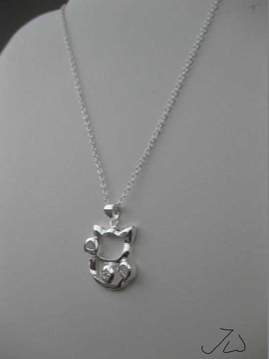 Jw Lucky Cat Chain Necklace with cz Size ONE SIZE - 1