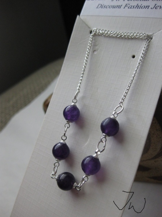 Jw 5 Purple Amethyst Beads Chain Necklace Size ONE SIZE - 2