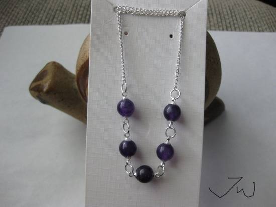 Jw 5 Purple Amethyst Beads Chain Necklace Size ONE SIZE - 1