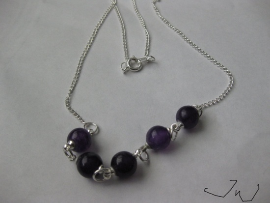 Jw 5 Purple Amethyst Beads Chain Necklace Size ONE SIZE