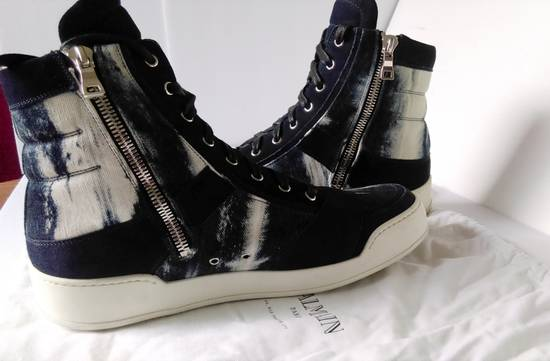 Balmain Balmain Leather/Canvas Marbled Navy Blue and White High Tops Size US 11.5 / EU 44-45