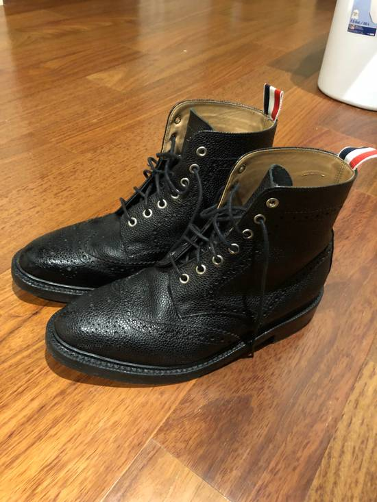 Thom Browne Black Classic Wingtip Boots Size US 8.5 / EU 41-42