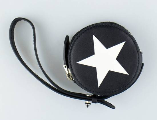 Givenchy Men's Black & White Leather Star Print Coin Pouch Size ONE SIZE - 1