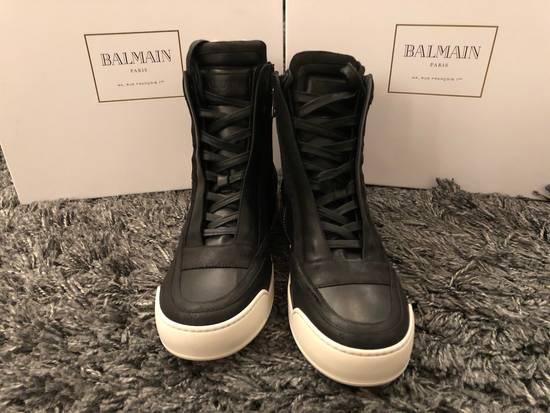 Balmain Black Leather Sneakers Size Us10 Eu43 Size US 10 / EU 43 - 5