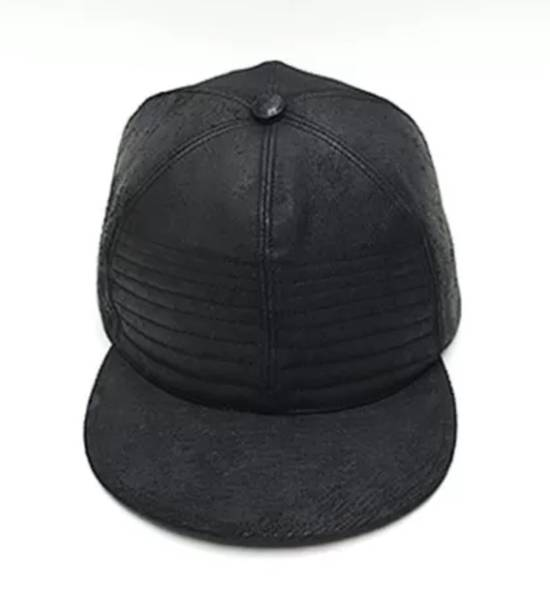 Julius MA_ JULIUS ULTRA RARE BLACK COATED LAMB SKIN LEATHER BASEBALL CAP HAT Size ONE SIZE