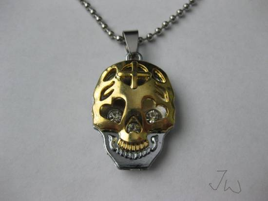Handmade Gold Skull Pendant Stainless Steel Necklace Size ONE SIZE - 1