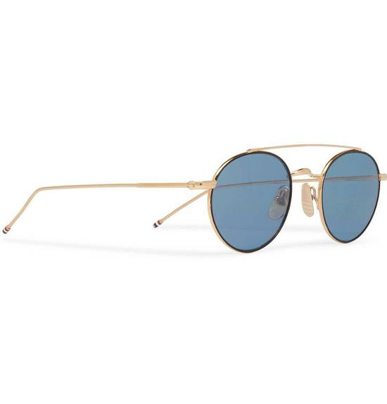 Thom Browne Round-Frame 12K Gold-Tone Sunglasses TB-101-D-T-BLK-GLD Size ONE SIZE - 1
