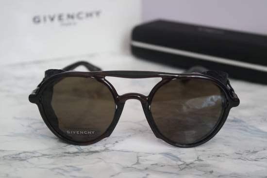 Givenchy NEW Givenchy 7038 Brown Round Sunglasses with Black Star Embossed Leather Shields Size ONE SIZE - 4
