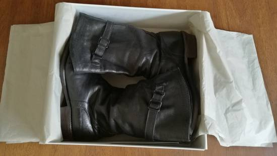 Julius 2008SS Black Horse Hide Tall Leather Strap Boots Size US 11 / EU 44 - 12