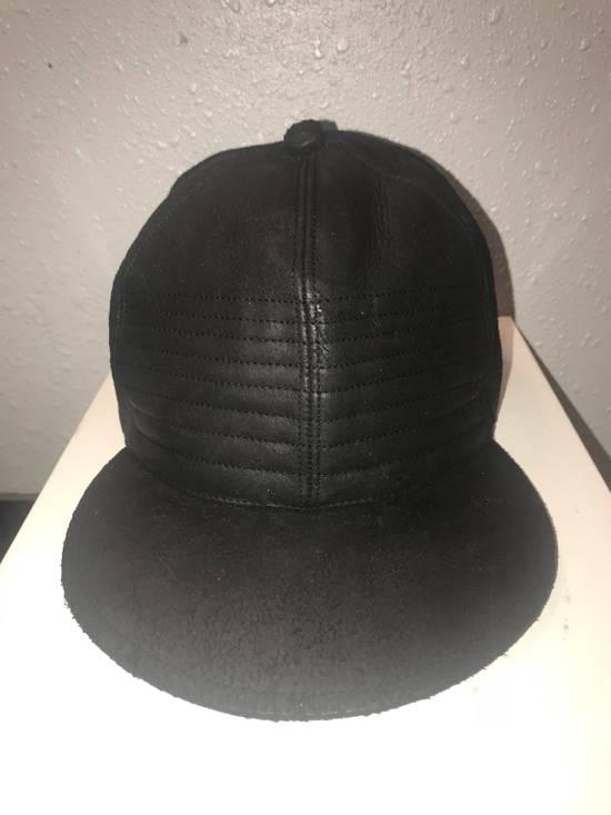 Julius MA_ JULIUS ULTRA RARE BLACK COATED LAMB SKIN LEATHER BASEBALL CAP HAT Size ONE SIZE - 11