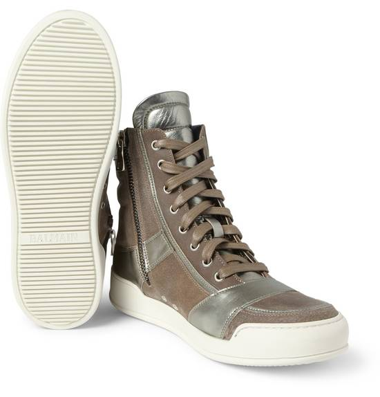 Balmain Brown Suede Silver Leather High Top Sneakers Size US 8 / EU 41 - 6