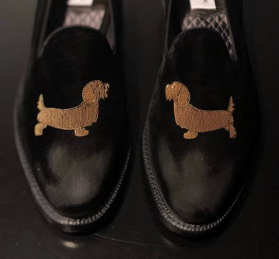 Thom Browne Embroidered Dog Distressed Velvet Runway Loafers Size US 11 / EU 44 - 3