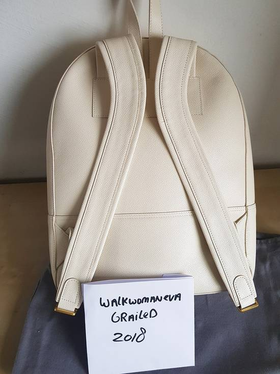 Thom Browne Leather Tennis Collection contrast bar stripe backpack white pebble grain Size ONE SIZE - 2