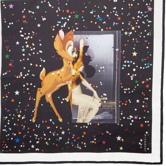 Givenchy Givenchy Black Bambi Confetti Print Large Rottweiler Silk Scarf (86 cm x 86 cm) Size ONE SIZE