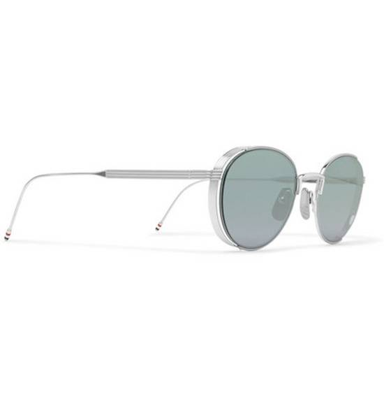 Thom Browne Thom Browne Round-Frame Silver Tone Sunglasses made in japan blue lenses 100 UV Size ONE SIZE - 2