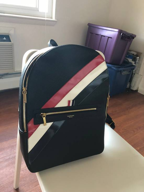 Thom Browne THOM BROWNE DIAGONAL STRIPE LEATHER BACKPACK Size ONE SIZE
