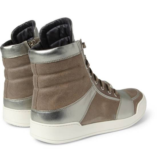 Balmain Brown Suede Silver Leather High Top Sneakers Size US 8 / EU 41 - 4
