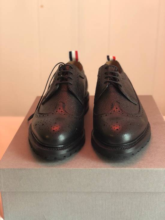 Thom Browne Classic Longwing Brogues With Boot Sole In Black Pebble Grain Leather Size US 9.5 / EU 42-43 - 1