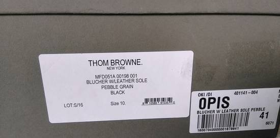 Thom Browne THOM BROWNE BLACK BLUCHER/DERBY IN PEBBLE GRAINED LEATHER Size US 10 / EU 43 - 10
