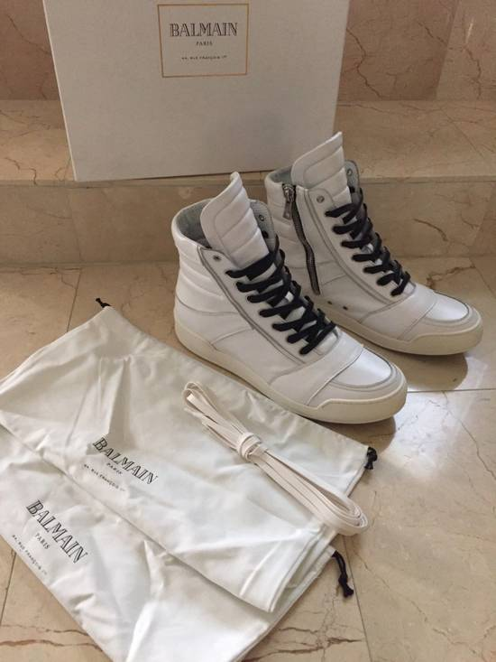 Balmain BALMAIN White Leather High Top Sneakers 100% Authentic Size 45 US 12 Size US 12 / EU 45 - 7