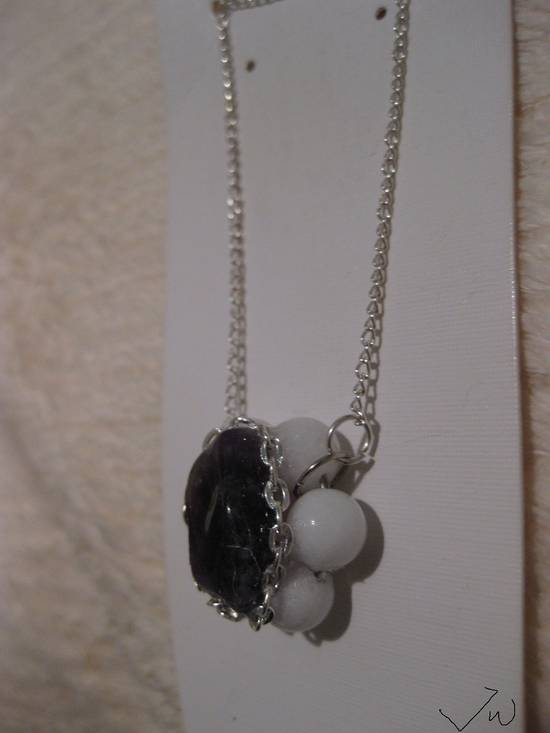 Jw Amethyst Stone Chain Necklace with Beads Size ONE SIZE - 1