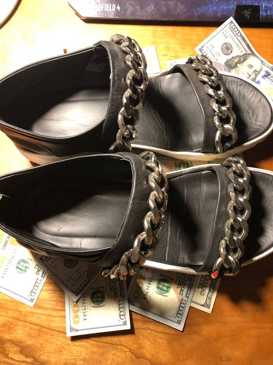 Givenchy Givenchy Black Leather Chain Sandals Size US 10 / EU 43 - 1