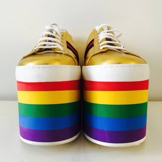 Gucci Gold Rainbow Sneakers Size US 9 / EU 42