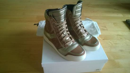 Balmain Brown Suede Silver Leather High Top Sneakers Size US 8 / EU 41 - 8