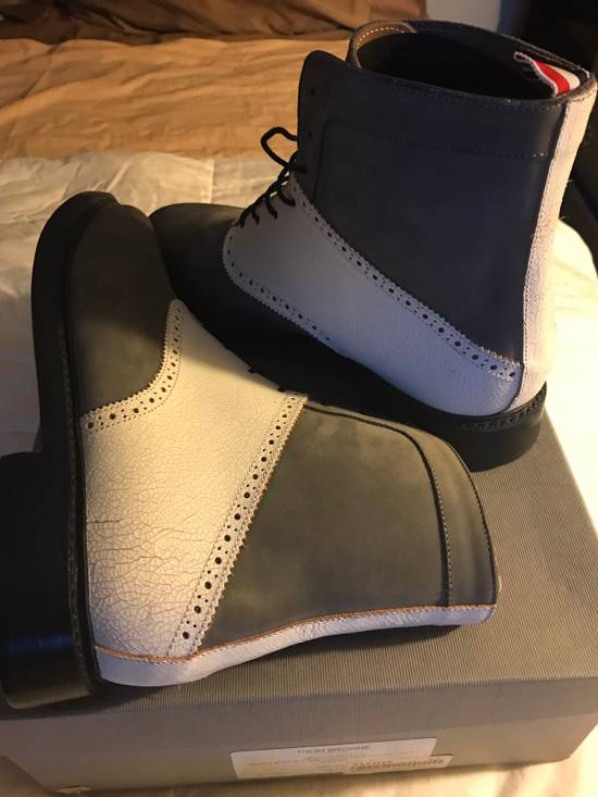 Thom Browne Grey Saddle Boots With Distressed Nubuck And Calf Leather Size US 9.5 / EU 42-43 - 1