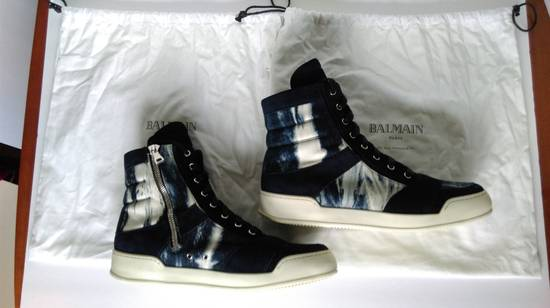 Balmain Balmain Leather/Canvas Marbled Navy Blue and White High Tops Size US 11.5 / EU 44-45 - 2