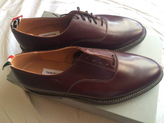 Thom Browne burgundy LEATHER OXFORD SHOES Size US 12 / EU 45
