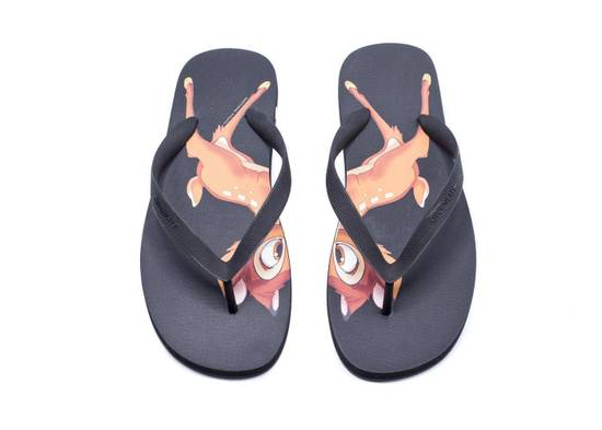 Givenchy New~Mens Givenchy Black Bambi Rubber Flip flops Slippers Size US 9 / EU 42 - 1