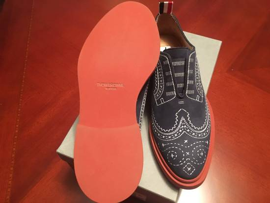 Thom Browne Trompe L'oeil Longwing Nubuck Brogue in Navy/Ecru Size US 9 / EU 42 - 5