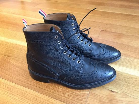 Thom Browne Black Leather Brogue Boots Size US 12 / EU 45
