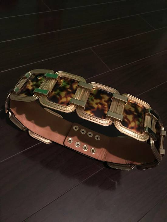 Balmain Laminated Leather And Gold Brass Statement Belt Size 30 - 2