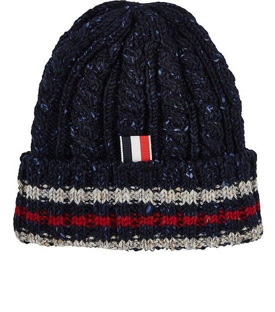 Thom Browne Thom Browne Navy Blue Beanie Donegal Beanie Cable Knit Wool Size ONE SIZE - 1